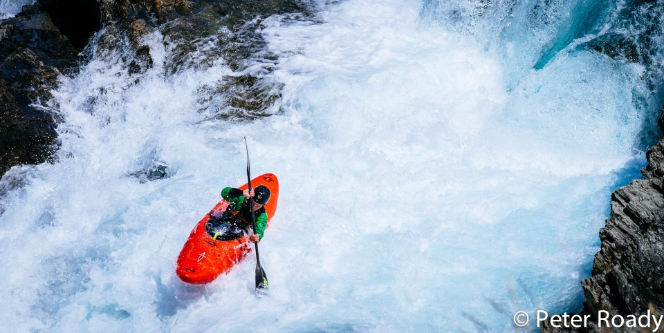 Kayaker on the Rio Baker in Patagonia