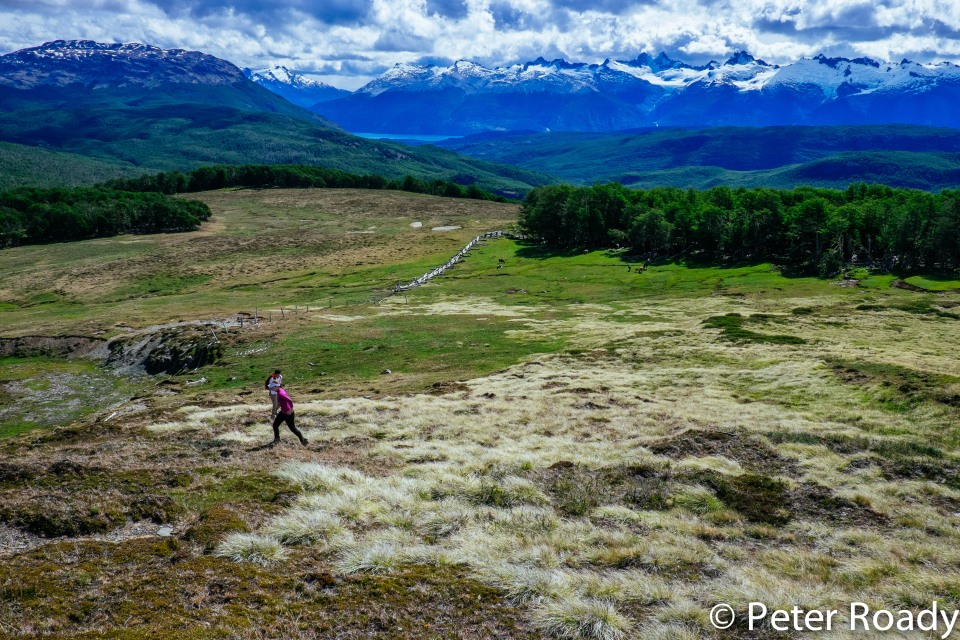 Hiking towards a fossil lode in Patagonia