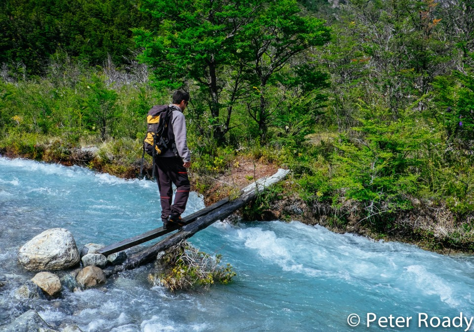 Crossing a glacier-fed river in Patagonia