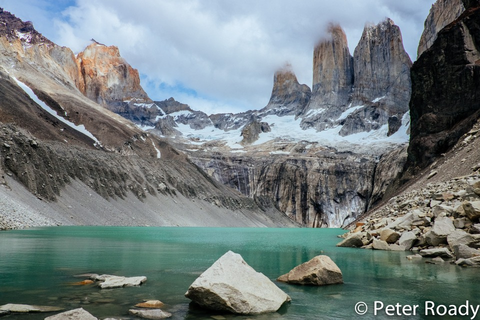Glacier-fed lake at the base of the towers in Torres del Paine