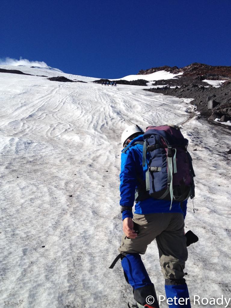Heading up Villarrica Volcano