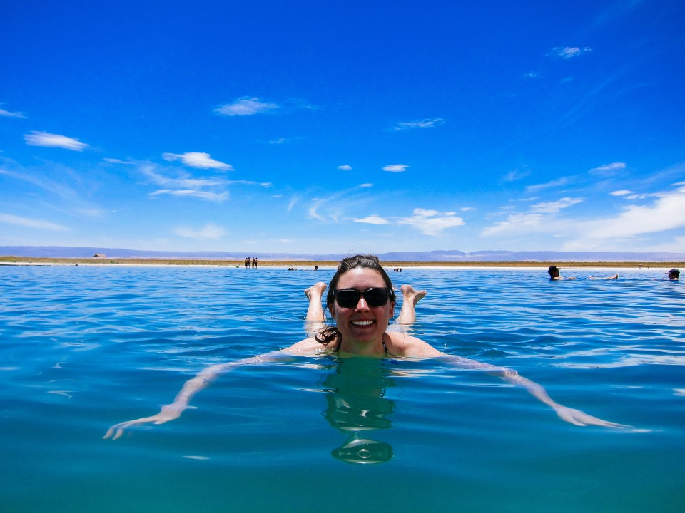 Jen floating in Laguna Cejar